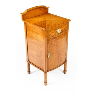 Antique Satinwood & Inlaid Bedside Cabinet c.1880 19th Century