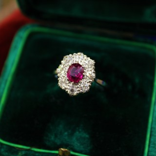 A very fine Burmese Ruby & Diamond Cluster Ring set in Platinum, English, Circa 1930
