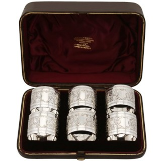 Sterling Silver Napkin Rings Set of Six - Antique Victorian (1889)