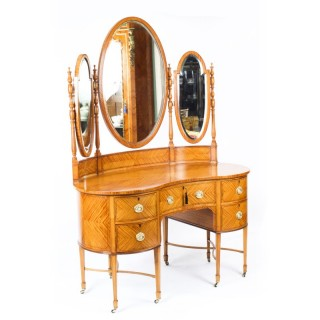 Antique Satinwood Kidney Dressing Table Att Maple & Co 19th C