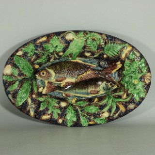 School of Paris Palissy Majolica Palissy Fish Platter