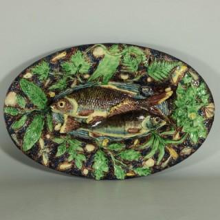 School of Paris Palissy Majolica Palissy Fish Platter