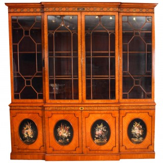 Antique English Sheraton Revival Satinwood Breakfront Bookcase 19th C