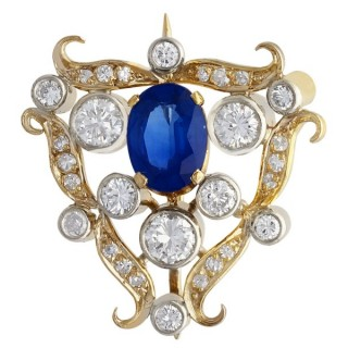 1.53 ct Sapphire and 1ct Diamond, 18ct Yellow Gold Brooch - Antique Circa 1920