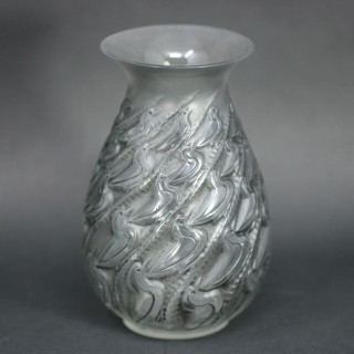 Rene Lalique Clear and Frosted Glass 'Canards' Vase