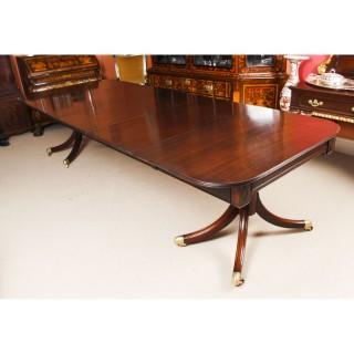 Antique 11ft Regency Twin Pillar Mahogany Dining Table C1820 19th C