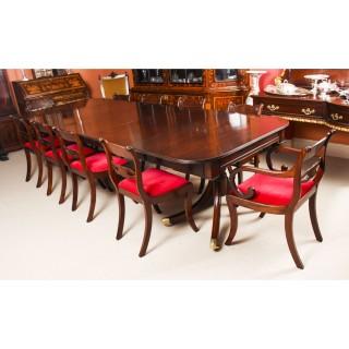 Antique Twin Pillar Regency Dining Table & 10 Regency chairs C1820 19th C