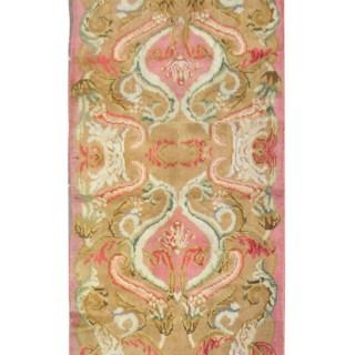 Handmade British Axminster Carpet, Traditional Pink Wool Runner Rug- 76x318cm