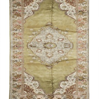 Traditional Green Wool Turkish Rug, Oriental Anatolian Carpet- 138x230cm