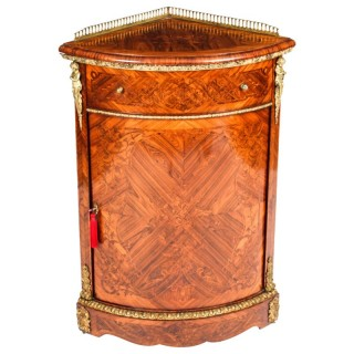 Antique Kingwood & Marquetry Marquetry Low Corner Cabinet c.1860
