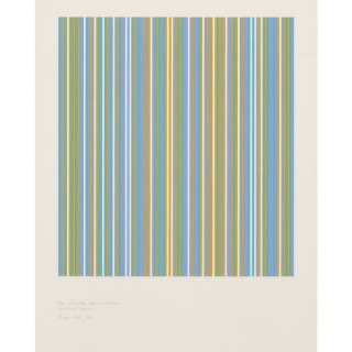 Bridget Riley - Three colours (blue, yellow and turquoise) precipitating magenta