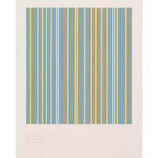 Bridget Riley - Three colours (blue, yellow and turquoise) precipitating magenta