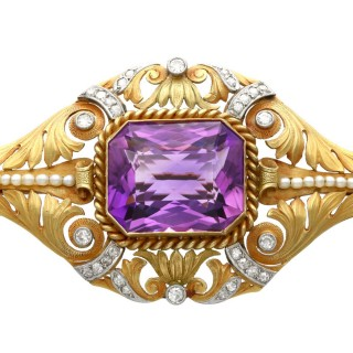 26.32ct Amethyst, 1.02ct Diamond and Seed Pearl and 18ct Yellow Gold Brooch - Antique Victorian Circa 1880