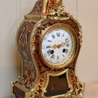 French Tortoiseshell and Brass inlay Mantel Clock