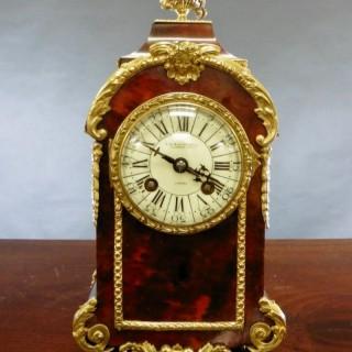 French Tortoiseshell Boulle  Mantel Clock