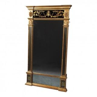 Large Antique Eglomise Pier Mirror