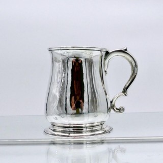 Antique George II Sterling Silver Pint Mug London 1737 Richard Gurney & Thomas Cook II