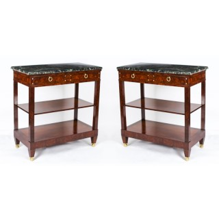 Antique Pair French Burr Walnut Empire Pier Cabinets / Serving Tables 19th C