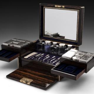 Antique Silver Coromandel Vanity / Dressing Box