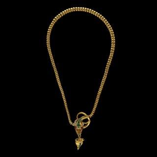Antique Emerald, Diamond & Gold Snake Necklace by Hancocks crca 1870