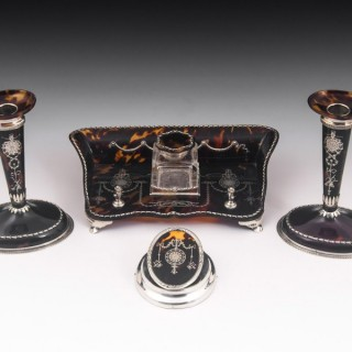William Comyns Tortoiseshell and Silver Desk Set