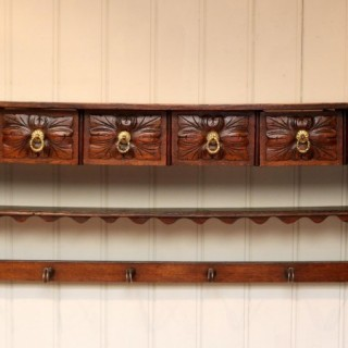 French Oak Wall Shelves With Drawers