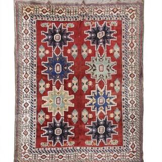Hand Woven Antique Caucasian Kazak Rug, Oriental Red Blue Wool area Rug- 203x227cm