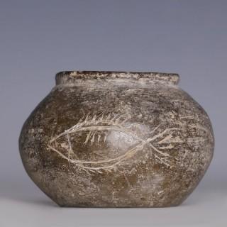 Han Dynasty Globular Jar with Incised Fish