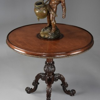 Early 20thc mahogany leather top tripod table in the 18thc Rococo style