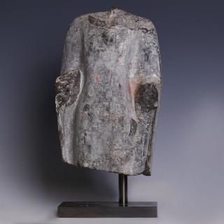 Chinese Grey Fragmentary Torso of a Buddhist Deity