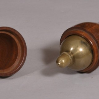 Antique Treen 19th Century Brass and Steel Plumb Line Weight in a Mahogany Case