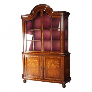Antique Dutch Marquetry Inlaid Walnut Display Cabinet