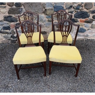Fine Set of Four 18th Century Hepplewhite Dining Chairs