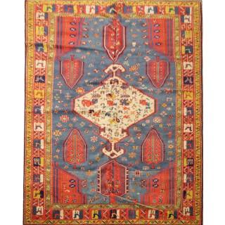Caucasian Wool Area Rug, Handwoven Vintage Wool Azerbaijan Rug- 173x236cm