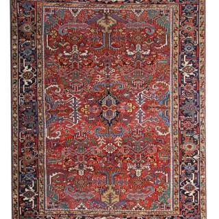 Handmade Antique Heriz Wool Area Rug- 260x305cm