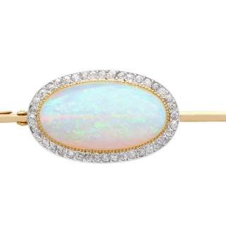9.30 ct Opal and 0.95 ct Diamond, 18 ct Yellow Gold Brooch - Antique Circa 1895
