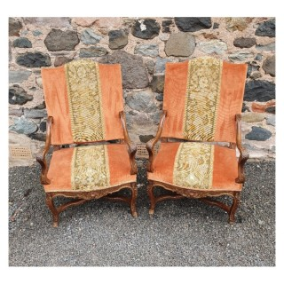 Large Size Pair of French Walnut Library Chairs