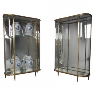 Antique Pair of Cast Brass Display Cabinets by Siegel, Paris