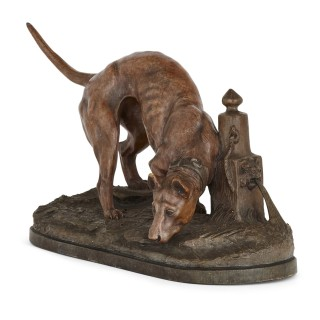 Antique 19th Century Terracotta Model of a Hound from Belgium