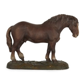 Antique Terracotta Equestrian Model of a Horse