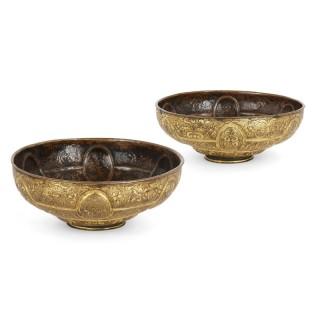 Pair of Antique Venetian Baroque Period Gilt Copper Bowls