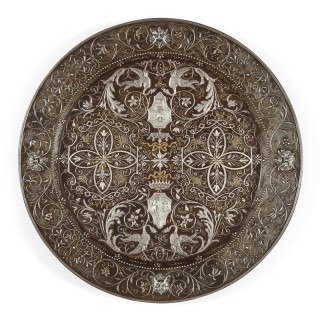 Antique Arabesque Steel Plate with Gold and Silver Inlay
