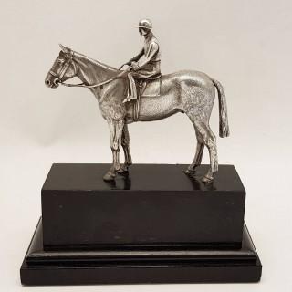 Vintage Silver Model Horse and Jockey