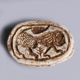 Egyptian Steatite Hyksos Period Scarab with Lion