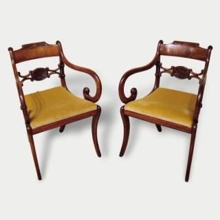 A Pair of Elegant Regency Armchairs
