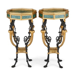 Pair of French Neoclassical Style Malachite and Gilt Bronze Side Tables
