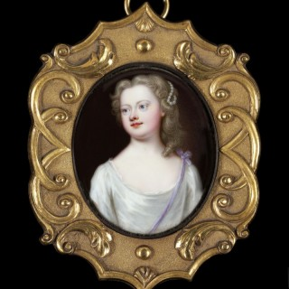 Christian Friedrich Zincke 'A young woman, wearing white dress with lilac sash' c. 1715