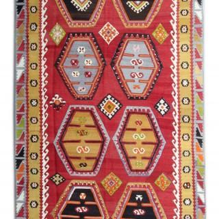 Vintage Anatolian Şarkışla Kilim, Handmade Oriental Wool Area Rug- 154x295cm
