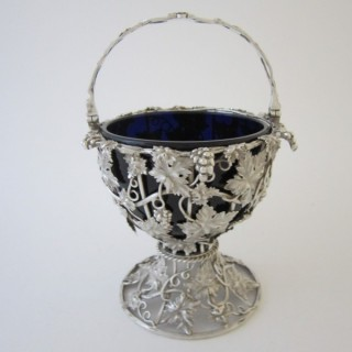 Antique Victorian Sterling Silver & Glass Basket - 1840