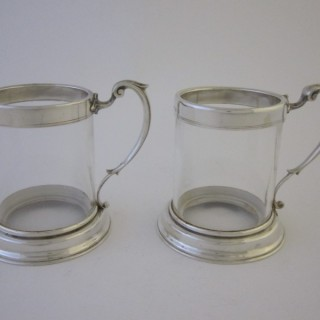 Antique Victorian Sterling Silver & Glass Mugs - 1858